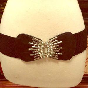 Black stretch belt with rhinestones